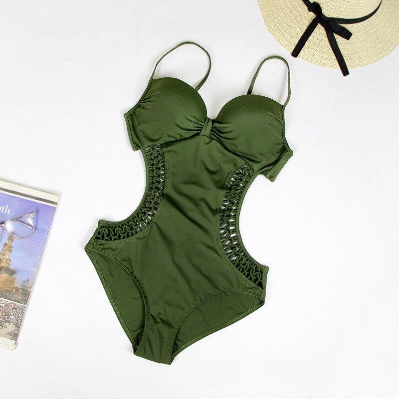 Une pièce maillots de bain femmes solide Sexy été plage maillot de bain noir évider Skinny maillot de bain Trikinis 2019 Mujer