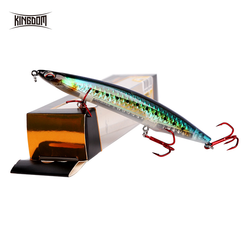 Kingdom Sea Fishing Pencil Lures 125mm 100mm Floating & Sinking Hard Lure With VMC Hooks Bass Fishing Bait Model 3511