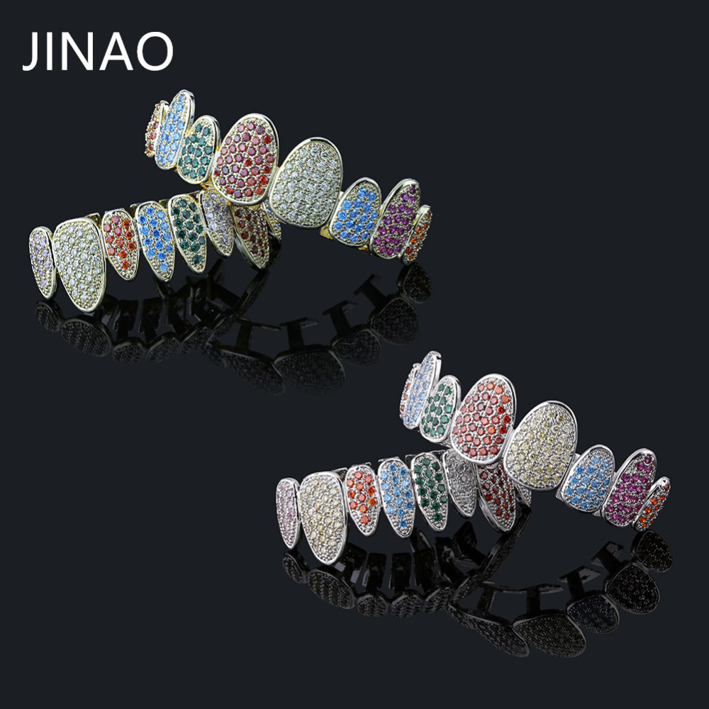 JINAO Silver Color Iced Out Gold Grillz Crystal Jewelry Top Bottom Grills 8Teeth Body Jewelry Hip Hop Bling AAA Cubic Zircon Men