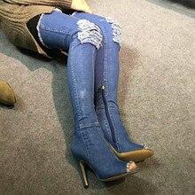 Estrella mismo párrafo Dril De Algodón Sobre La Rodilla Patea Los Zapatos Mujer muslo Botas Altas Ripped Denim Jeans Lamentando Abrir Peep Toe tacones
