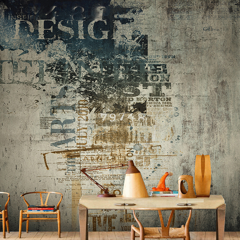 Restaurant Clubs KTV Bar European Style Retro Cement Photo Wallpaper Modern Interior Kitchen Decor Non-Woven Mural 3D Panel Wall
