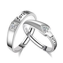100% 925 sterling silver romantic forever love shiny crystal lovers`couple rings jewelry men women finger ring no fade цена в Москве и Питере