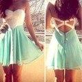 2015 New Women Backless Mini Dress Sleeveless Strapless Dress Summer Chiffon Lace Dress 36