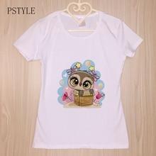 cartoon funny t shirts for women summer short sleeve kawaii owl girls print tee shirt female cute graphic animal white tops цена 2017