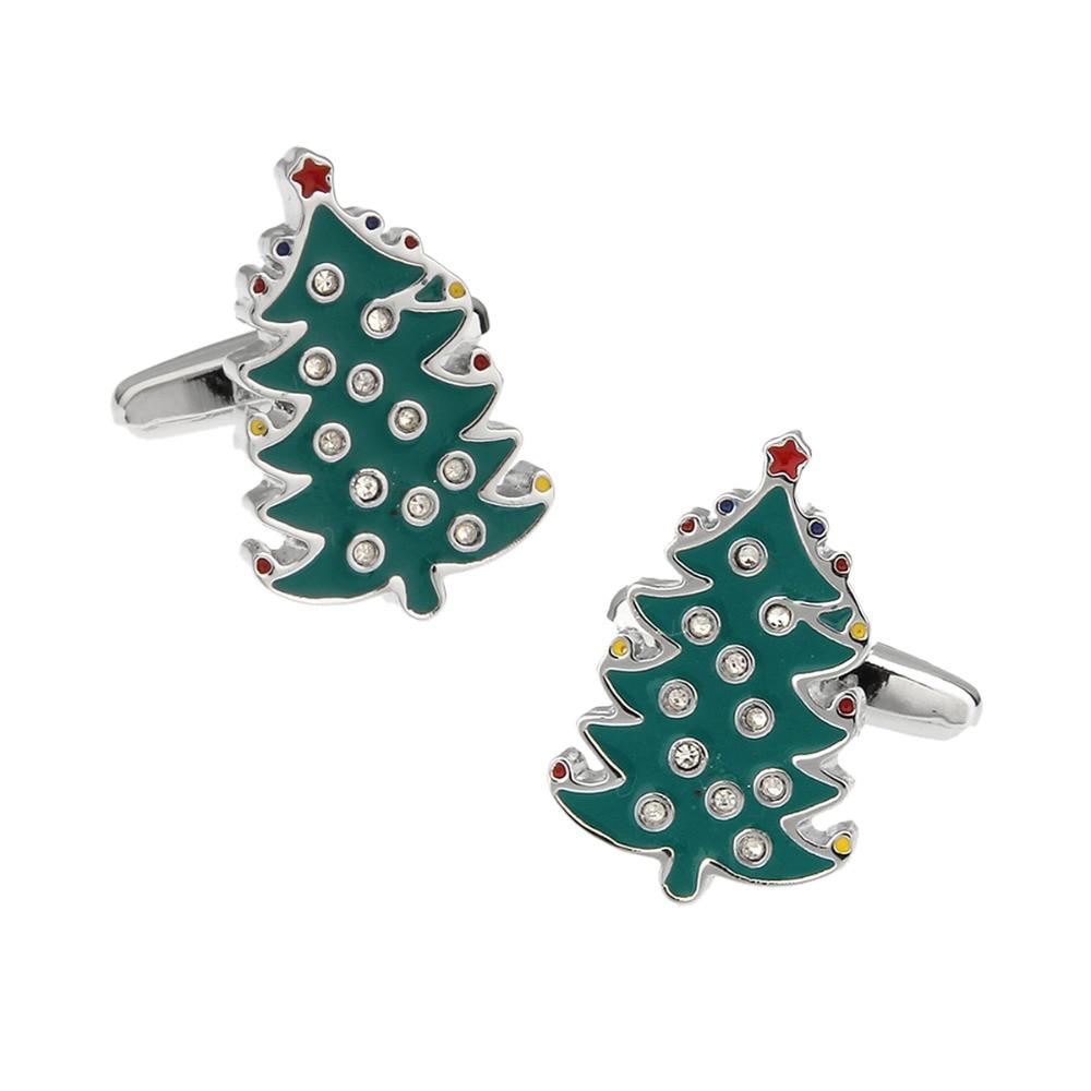 Christmas Gift Mens Wedding Cufflinks Novelty Christmas Tree & lean Cloth 190065