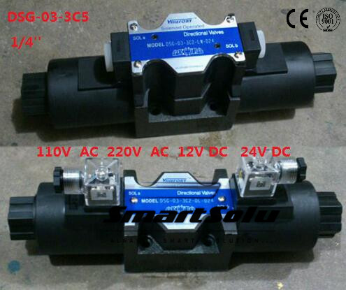 Free shipping DSG-03-3C5 12V DC 1/4'' SOLENOID OPERATED DIRECTIONAL Terminal Box Type Plug-in Connector Type smt dsg 02 3c5 rc 3 8 24v dc solenoid operated directional valve 3 positions spring centred terminal box plug in connector type