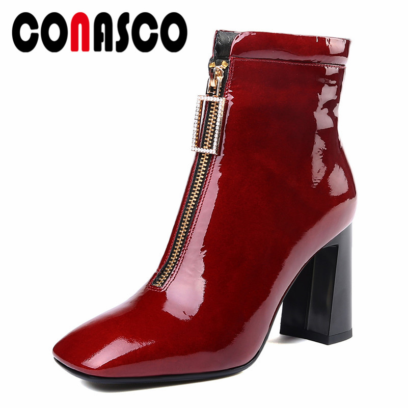 CONASCO Fashion Brand Women Ankle Boots Sexy Zipper Cow Leather Party Wedding Shoes Woman Square Heels Martin Shoes Prom PumpsCONASCO Fashion Brand Women Ankle Boots Sexy Zipper Cow Leather Party Wedding Shoes Woman Square Heels Martin Shoes Prom Pumps