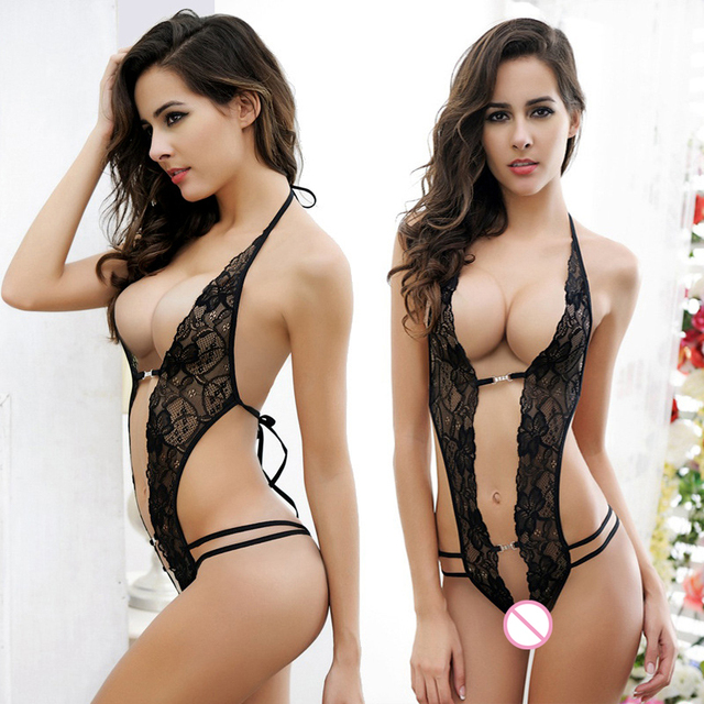 c76918b726 Hot 2016 Women Sexy Deep V Halter Lingerie Lace Underwear Sleepwear G-string  Mini Bodysuit One Piece Thong Bodysuit