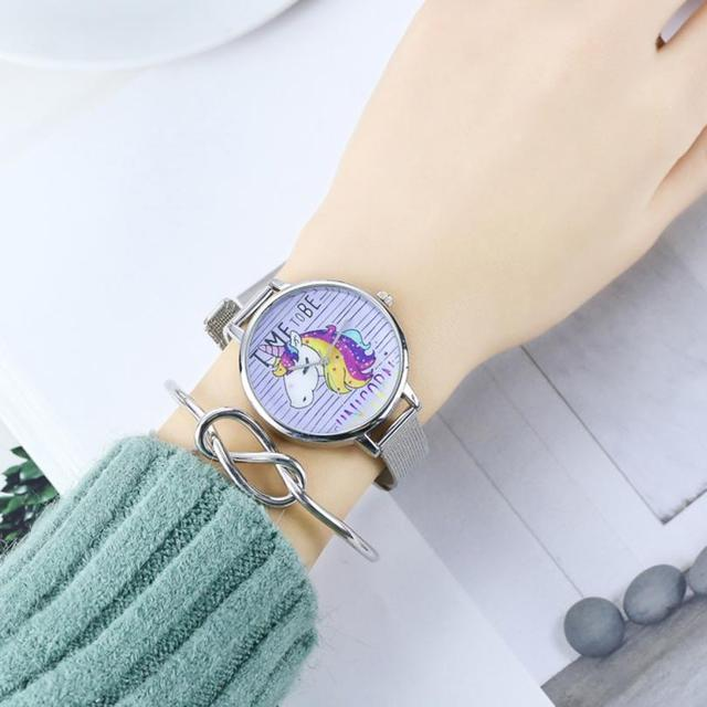Top Brand Luxury Women's Dress watches Unicorn Full Mesh Steel Watch Bracelet Qu