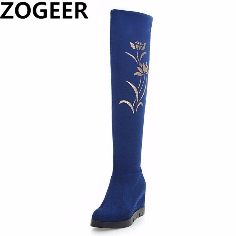 New Fashion Thigh High Snow Boots Women Autumn Winter Casual High Heels Wedge Knee High Boots