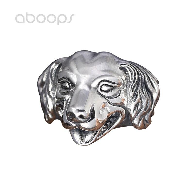 Vintage 925 Sterling argent tête de chien anneau ouvert pour hommes garçons réglable livraison gratuite