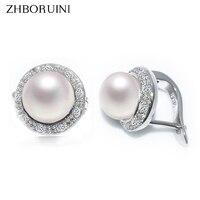 ZHBORUINI 2017 New Pearl Earrings 925 Sterling Silver Jewelry Vintage Style Natural Freshwater Pearl Stud Earring
