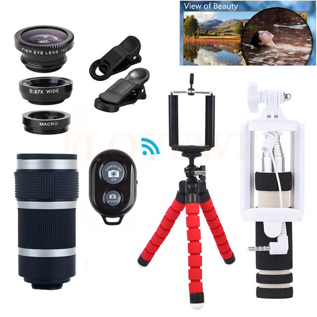 12in1 kit camera lens 8x zoom telefoto lentes telescópio microscópio + tripé holde + lentes olho de peixe grande angular macro para iphone 6 7