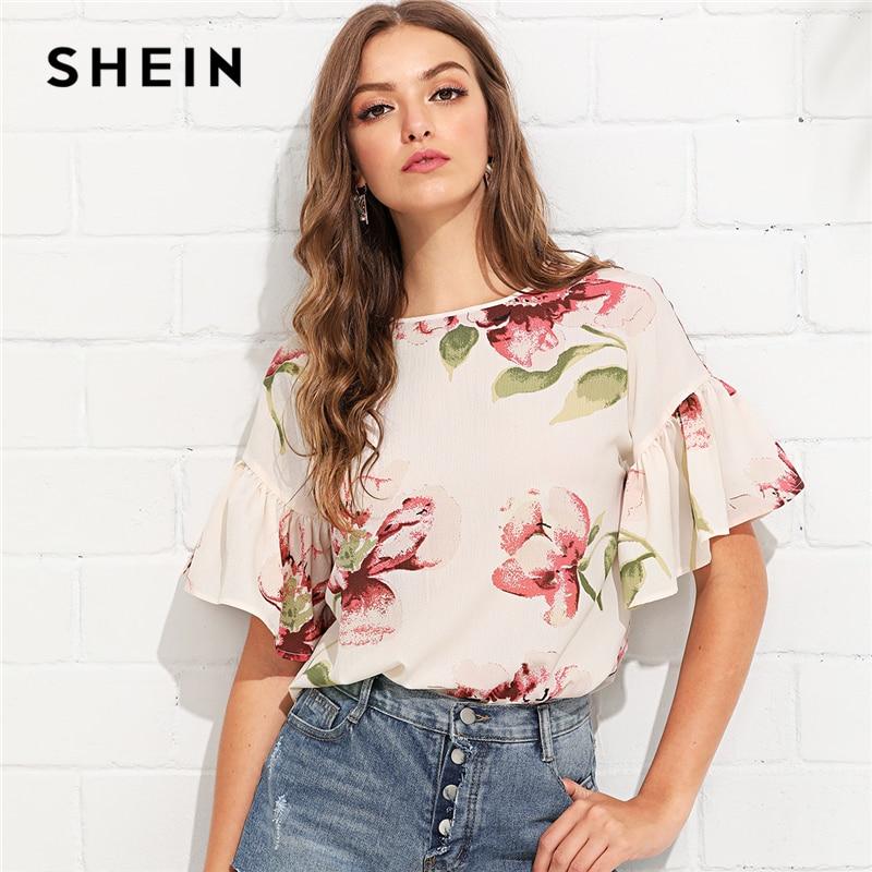 SHEIN Multicolor Vacation Bohemian Beach Floral Print Flounce Ruffle Sleeve Keyhole Back Floral Blouse Women Casual Shirt Top