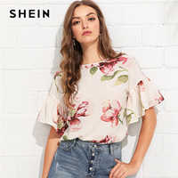 SHEIN Multicolor Vacation Bohemian Beach Floral Print Flounce Ruffle Sleeve Keyhole Back Floral Blouse Women Casual Shirt Top