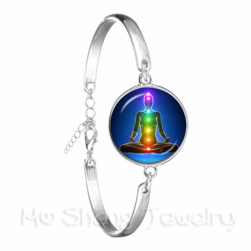 メタトロンかわいいブレスレットチャクラ宇宙エネルギーセンターチャームレディースジュエリー美しい曼荼羅蓮ヒンドゥー教チェーンバングルギフト