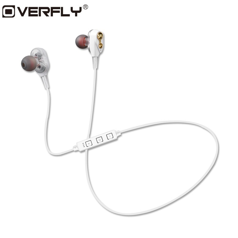 Overfly Bluetooth Headphones Wireless Double Dynmaic Earphone with Mic Stereo Sport Running Headset For Xiaomi Samsung iPhone