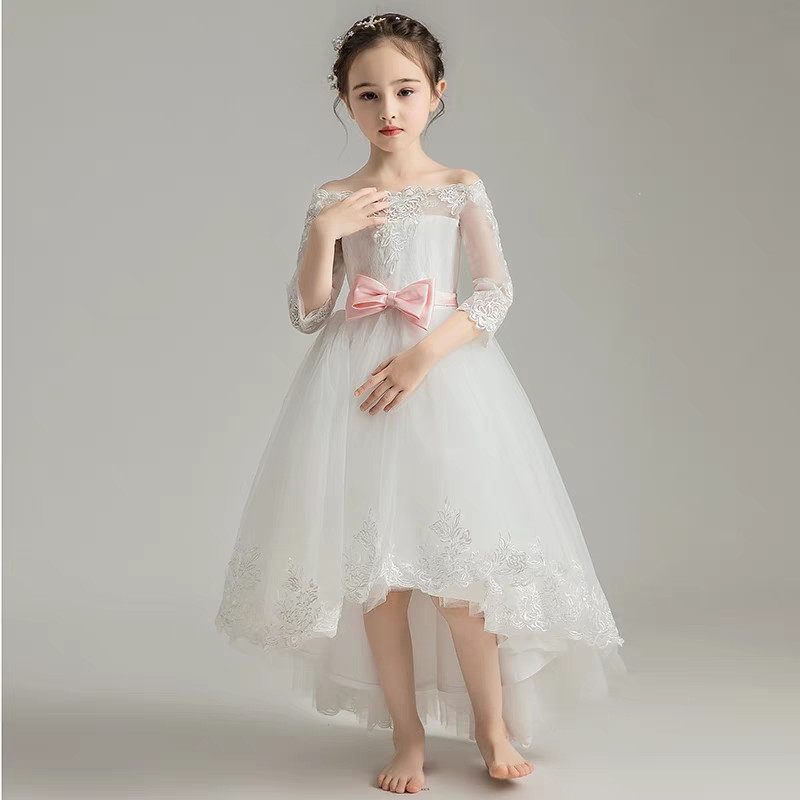 White Color Children Girls Luxury Shoulderless Collar Birthday Wedding Party Tail Bow Dress Teens Kids Piano Host Costume Dress collar color block striped dress
