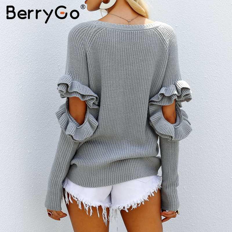 BerryGo элегантный выдалбливают оборками зимний женский свитер-пуловер Длинный Рукав свободный пуловер женский теплый осенний Повседневный джемпер