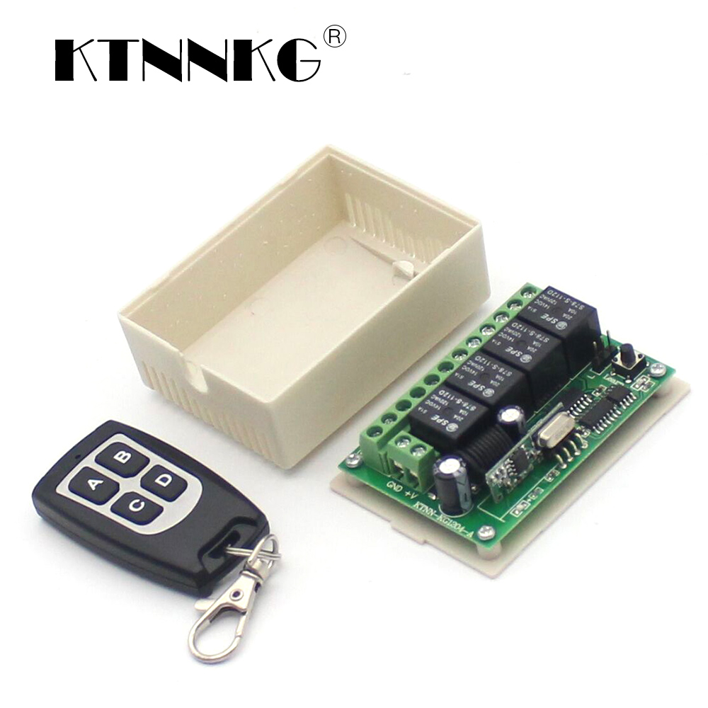 KTNNKG 4 Gangs Smart Relay Modules DC 12V Wireless Light Switch Remote Lamp Receiver Home Gadgets 433mhz RF Control Dropshipping