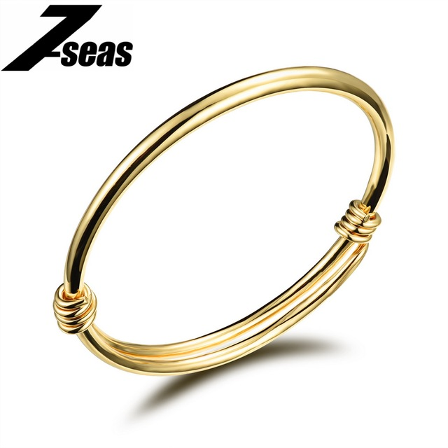 7seas Cute Gold Color Baby Bracelets Bangles Kids Jewelry Gift Cuff Bangle Bracelet For S