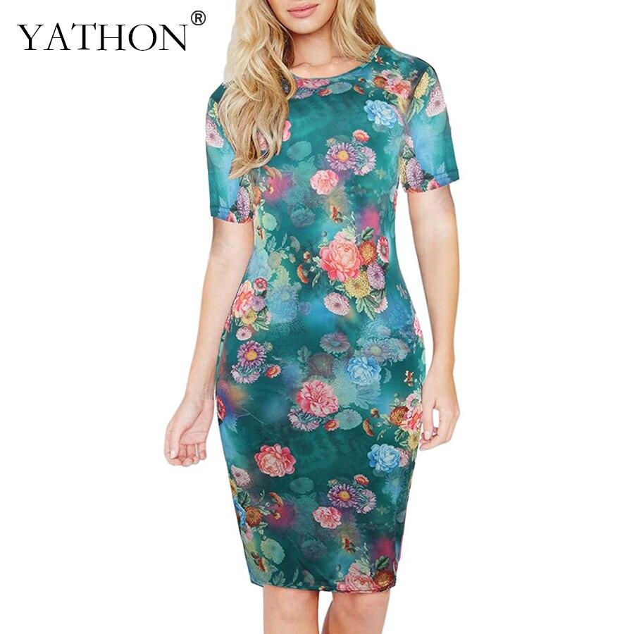 YATHON Elegant Floral Print Office Work Bodycon Dress Womens 2017 Green Casual Party Slim Stretch Pencil