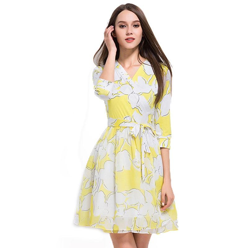 2018 Summer Casual Beach Dresses Women Neck Yellow