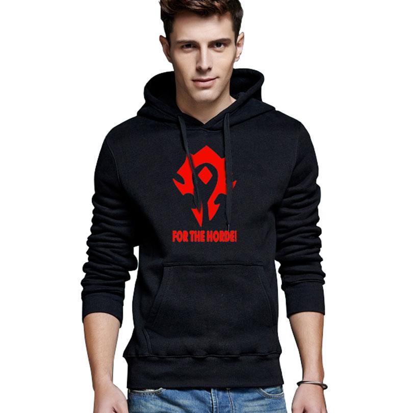 Hot! Mens Hooded Hoodies 2017 Game WOW ALLIANCE&Horde Print Sweatshirt Mens Pullover Hoodies Clothes