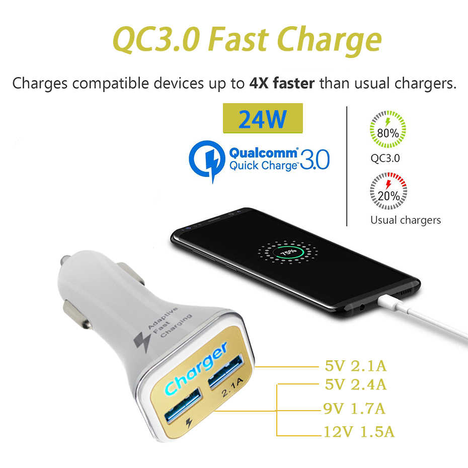 QC3.0+2.1A Dual USB Car Charger 2 Port LCD Display 12-24V Cigarette Socket Lighter Fast Car Charger Power Adapter Car Styling