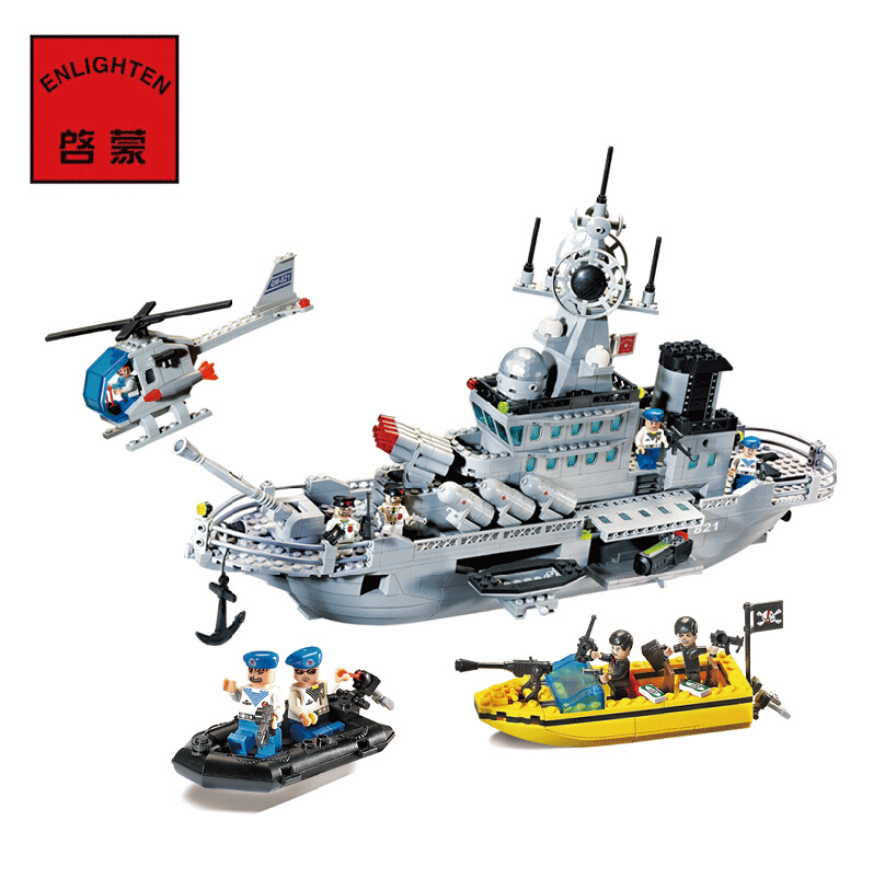 Enlighten Military Series Missile Cruiser Building Blocks Sets 843pcs Educational Construction bricks DIY toys for children 821 enlighten building blocks navy frigate ship assembling building blocks military series blocks girls