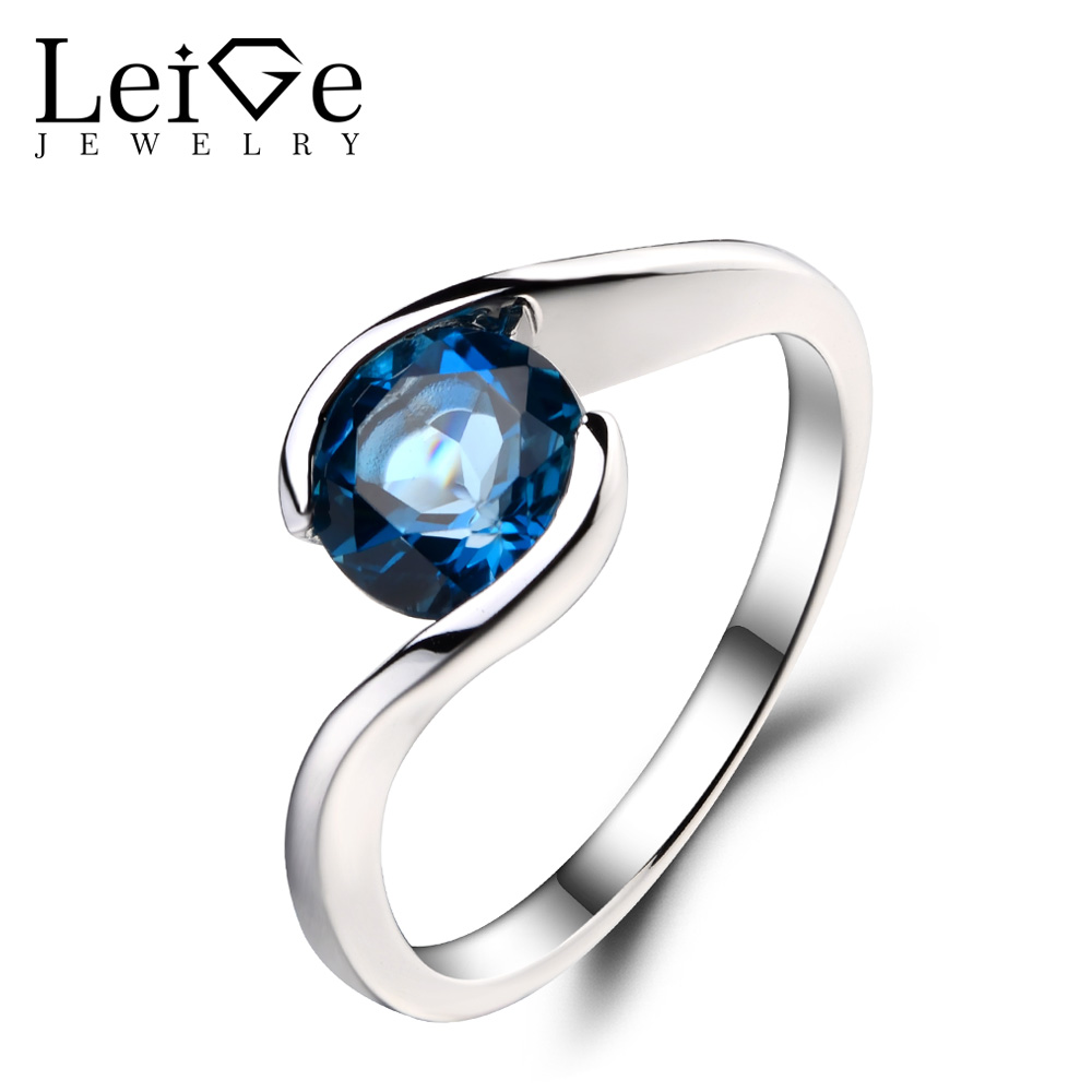 Leige Jewelry 1.68ct London Blue Topaz Solid 925 Sterling Silver Ring Gemstone Birthstone Round Cut Promise Rings Gifts for HerLeige Jewelry 1.68ct London Blue Topaz Solid 925 Sterling Silver Ring Gemstone Birthstone Round Cut Promise Rings Gifts for Her