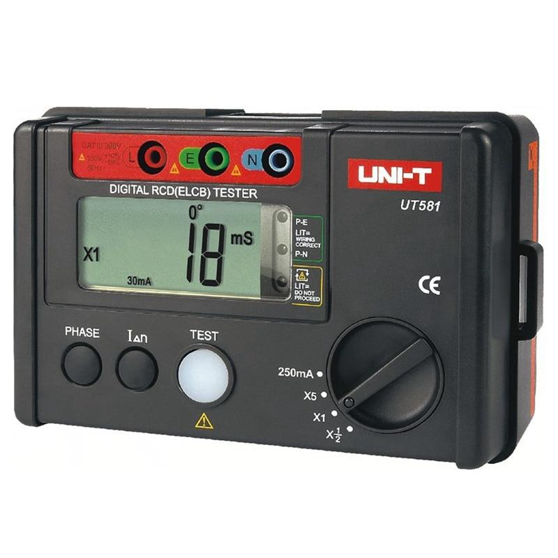 UNI-T UT581 RCD Loop Tester Circuit Multimeter fr GFCI Loop Resistance Testing ut581 digital rcd tester meter leakage circuit breaker