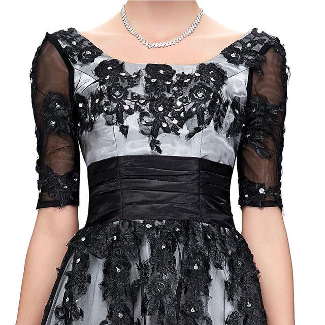 Online Shop Elegant Long Black Lace Half Sleeve Evening Dresses Plus