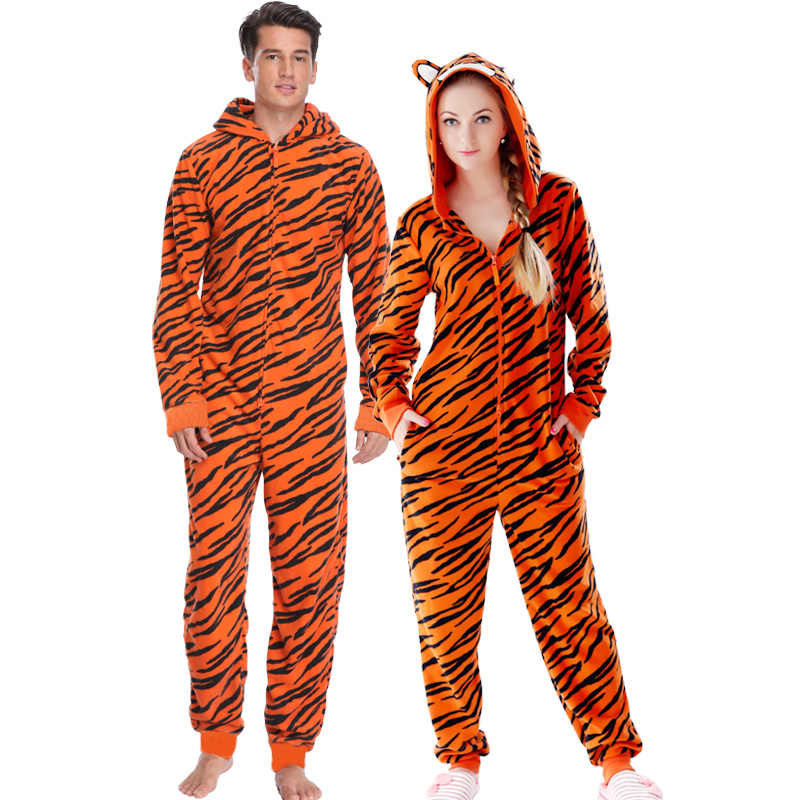 6500117a3a Plus Size Fleece Tiger Pyjamas Women Stitch Onesie Animal Costumes Jumpsuits  Couple Coverall Pajamas Onesie For