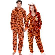 7f3dd2a7b332 Plus Size Fleece Tiger Pyjamas Women Stitch Onesie Animal Costumes  Jumpsuits Couple Coverall Pajamas Onesie For