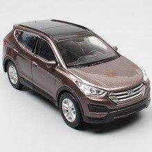 1/36 Mini Hyundai Santa Fe Maxcruz SUV Miniatur Skala Mobil Kendaraan Logam Diecast Menarik Kembali Welly Model Mainan Anak-anak Replika anak Laki-laki