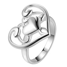 love heart beautiful Silver plated Ring Fashion Jewerly Ring Women&Men , /GPTOLGPH QHXHFZRF