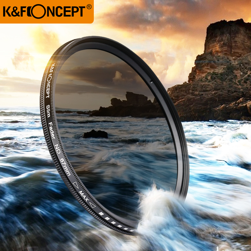 K & F KONCEPT 40,5 ~ 82MM Slim Fader Variabel ND Filter Justerbar ND2 til ND400 Neutral tetthet for Canon 7D 50D 60D