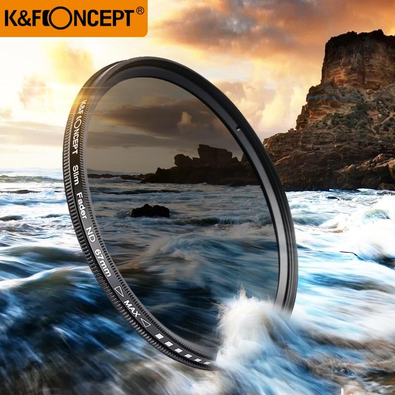 K & F CONCEPT 40.5 ~ 82mm Slim Fader Variable ND Filtre Réglable ND2 à ND400 Neutre Densité pour canon 7D 50D 60D