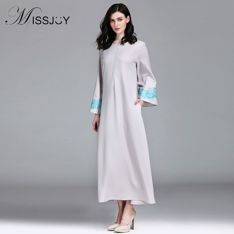 MISSJOY New Abaya Dubai Dress Kaftan Turkey Islamic Clothing moroccan Arabian Full sleeve embroidered Muslim Dress Evening image