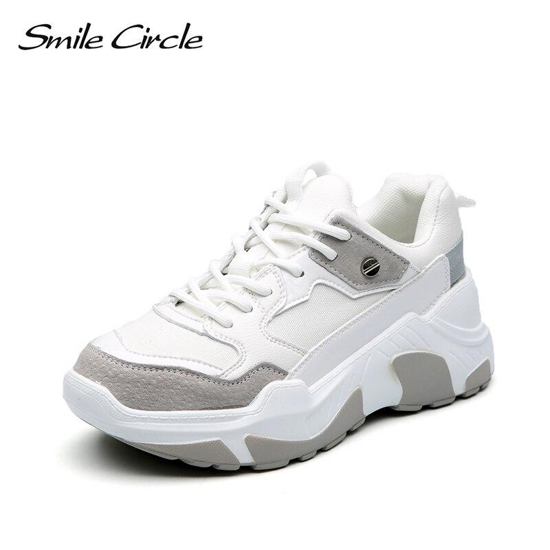 Uśmiech koło kobiet Sneakers grube zamszowe płaskie buty na koturnie wiosna jesień oddychające buty w stylu casual damskie buty czarny w Damskie buty z gumową podeszwą od Buty na  Grupa 3