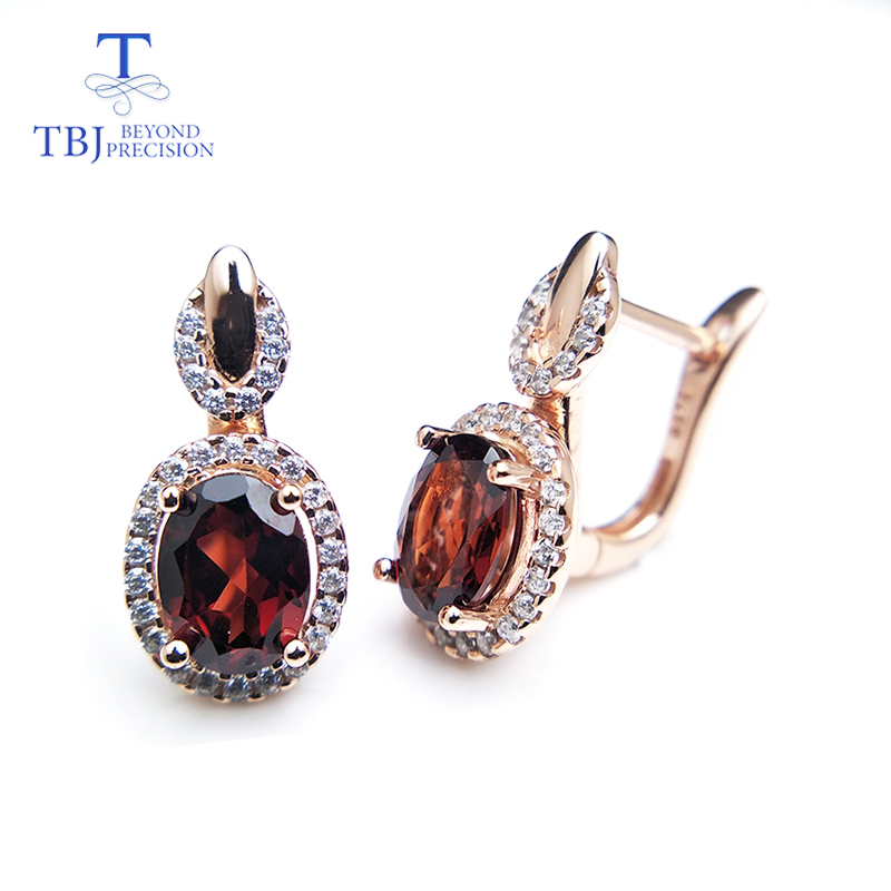 TBJ 925 silver earring clip with natural Mozambique Garnet ov6 8 nautral garnet earring for women