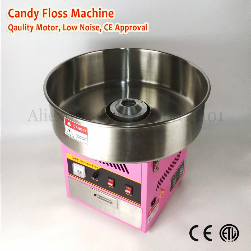 Electric Cotton Candy Machine Commercial Candy Floss Maker 52cm Top Bowl Pink Color 220V 1030W with Drawer electric candy floss maker pink cotton candy machine with stainless steel bowl 420w 220v diy home use