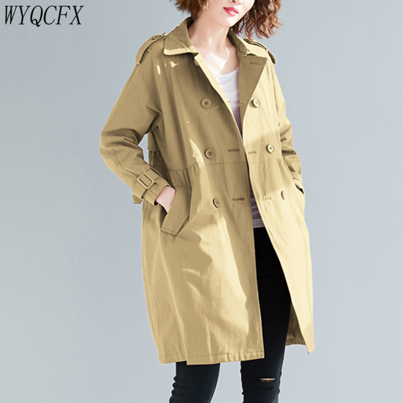 2019 Spring Autumn Korean Women Clothing Windbreaker Casual Solid Color Large Size Double-breasted Thin Loose Outerwear   Trench