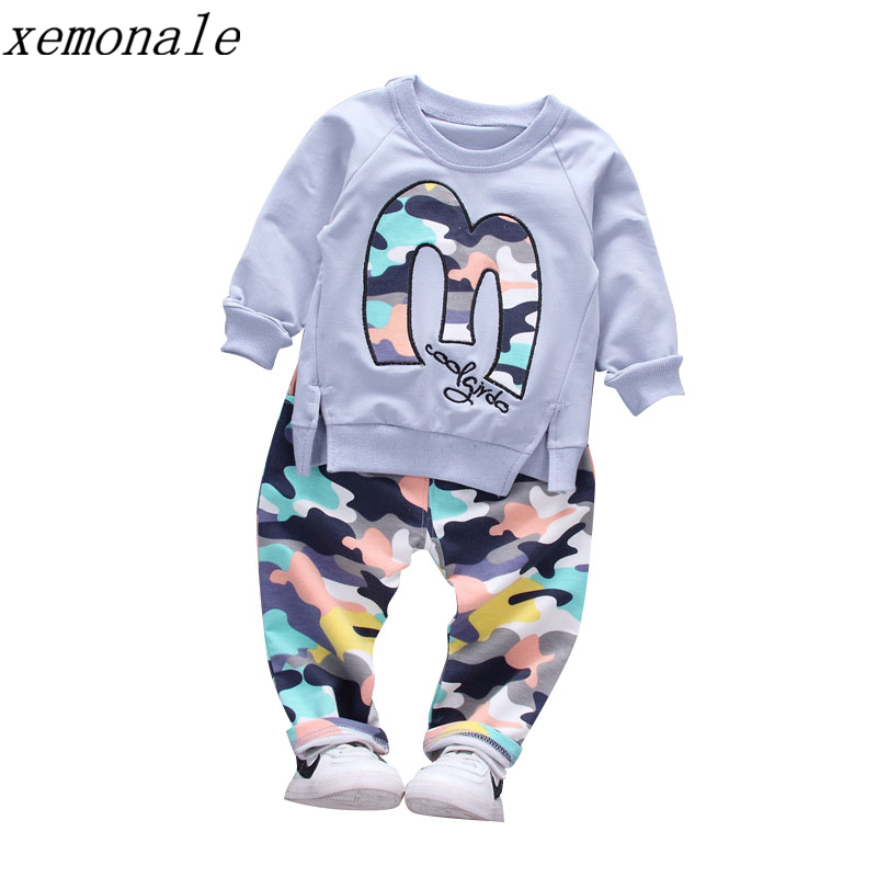Baby Boy Autumn Clothes Girl Letter M Warm Cotton Clothing Set For Kid Camouflage Jackets Pant 2pcs Fashion Children Sports Suit