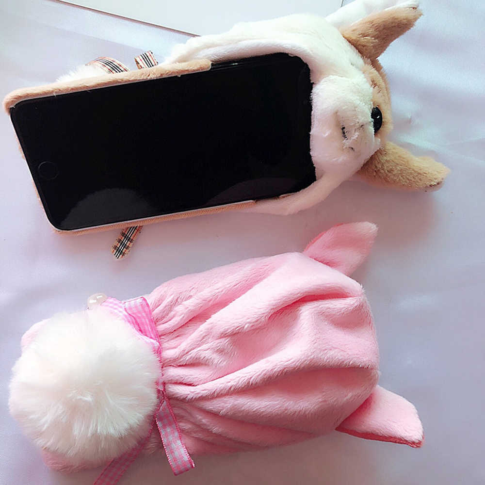 Linda Boneca Para iphone 7 8 6 6S Plus XR X XS Max Peludo Macio Dos Desenhos Animados Capa de Super porco bonito Cão Bolso Chapéu Com Pompom