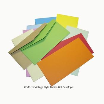 100 unids/lote 22x11cm Estilo Vintage Paquete de sobres de regalo antiguo suministros de oficina escuela sobres de papel Kraft No.5 estilo europeo
