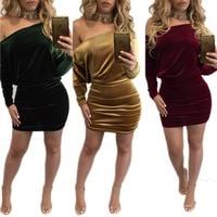 Women Long Sleeve Plus Velvet Dress Sexy Slash Neck Army Green Gold Wine Plus Size XL