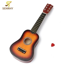 21 Inch 6 String Acoustic Ukulele Mini Guitar Toys Practice Musical Instrument with Guitar Pick For Children Gift Random Color