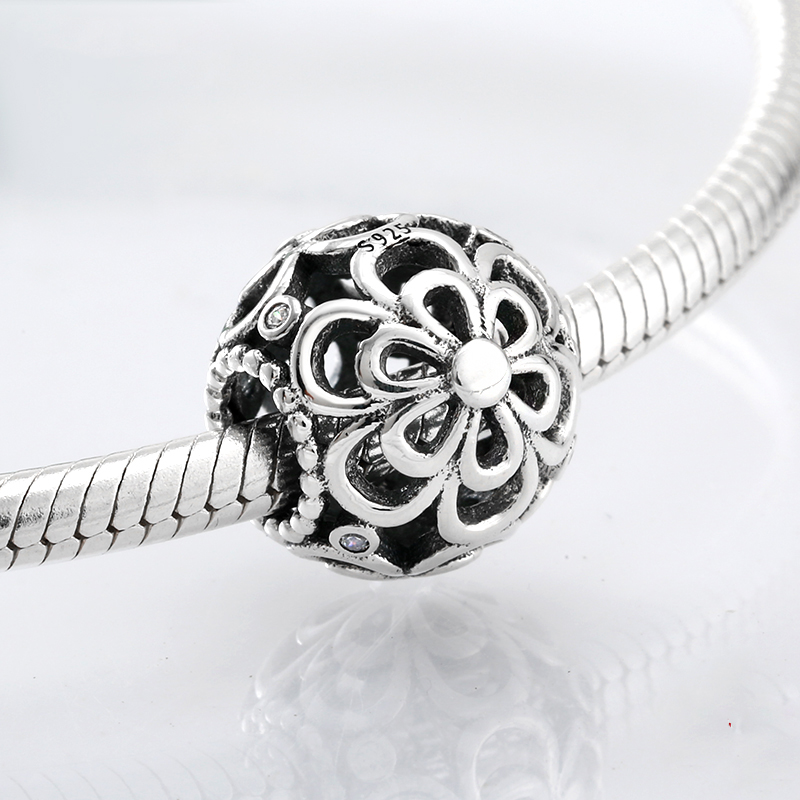 925 Sterling Silver hollow flower Charm